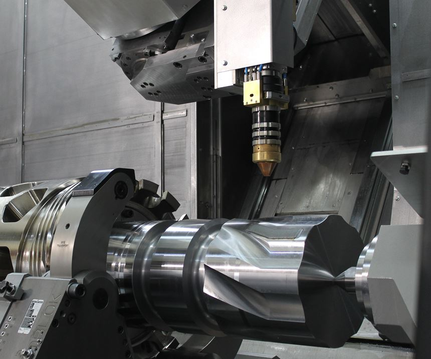 Hybrid mill-turn machine with a diode laser