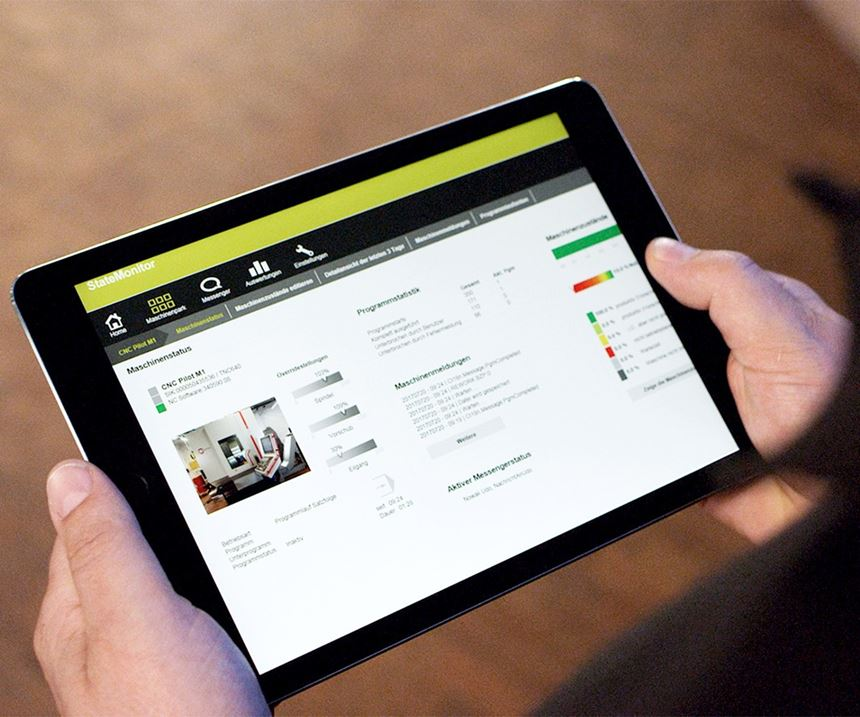 Tablet showing machine monitoring