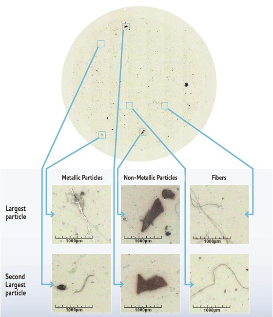 Graphic that shows magnified metallic and non-metallic particles