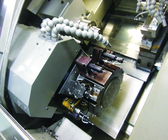 inside a machine used for medical parts