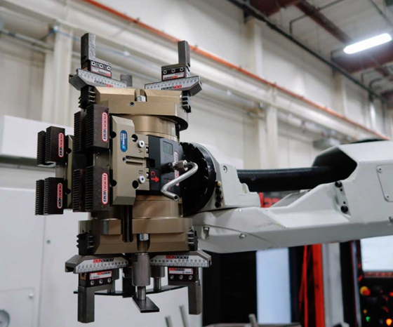 Robot with dual grippers