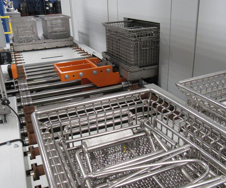 part baskets on carriers inside the Roll unit