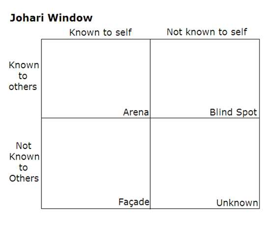 Blank Johari window grid