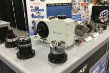 Hardinge workholding products in its booth at PMTS