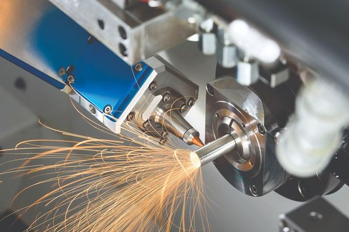 Swiss-type machine with laser cutting head