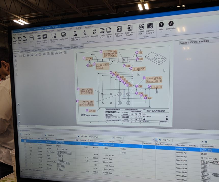 Screen from HighQA's software program showing automatically ballooned GD&T data