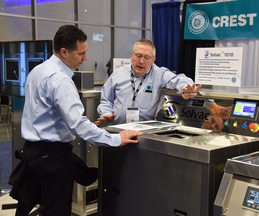 Parts cleaning equipment at the Crest Ultrasonic booth