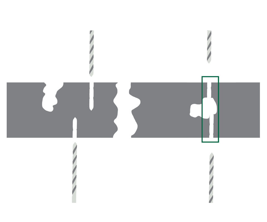 Diagram showing how machining can open fully enclosed porosity to form through porosity
