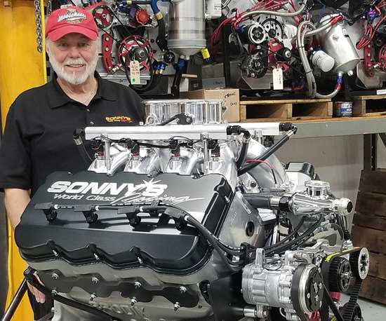 Sonny Leonard and a racing engine