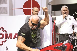 Paul Teutul Sr. in Hydromat's IMTS 2018 booth