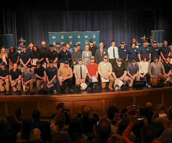 students and staff members who participated in the Manufacturing Recognition and Signing Day