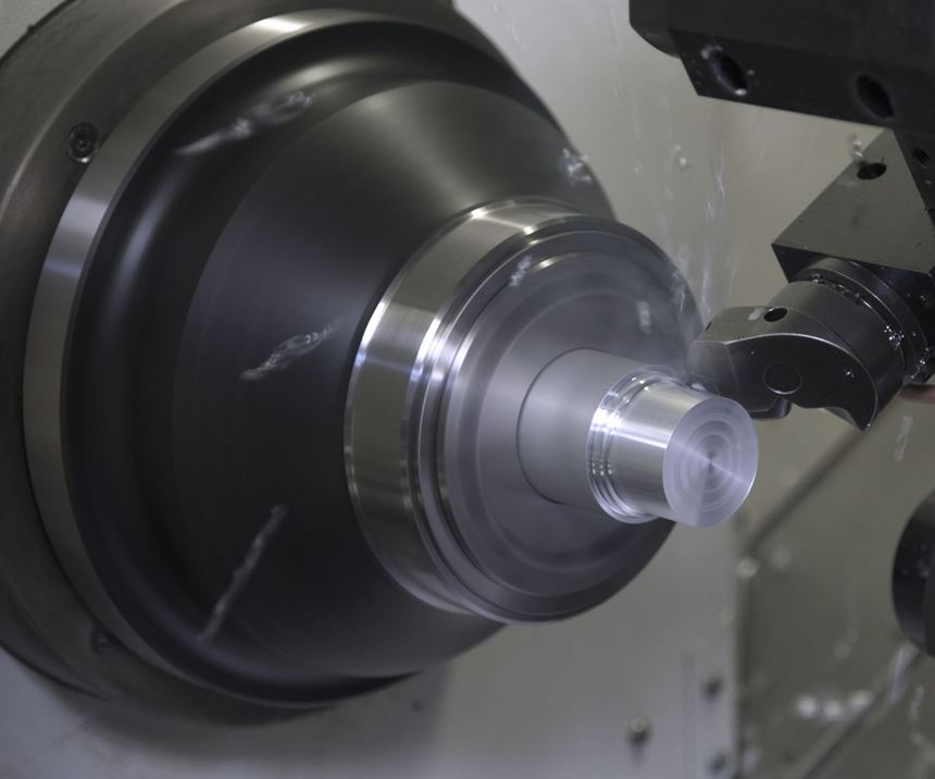 Part being turned in a collet chuck