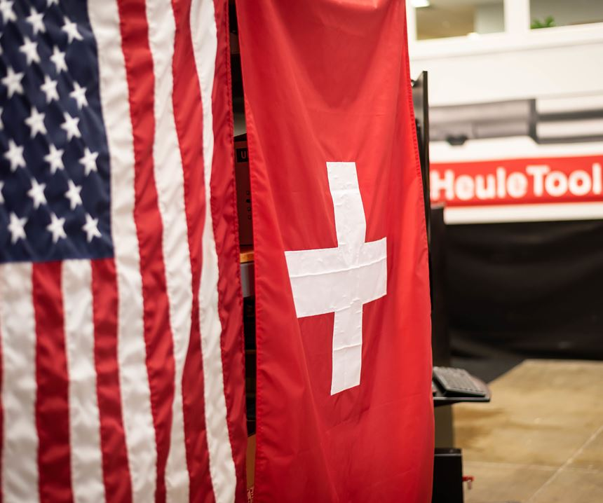 American and Swiss flag with Heule Tool logo in the background