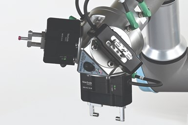 three robotic calipers mounted on a cobot