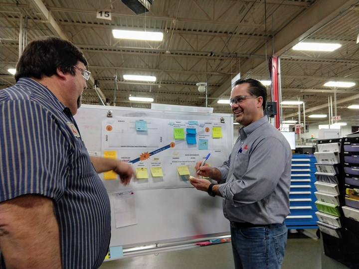 Dan Vermeesch engaging with worker on the shop floor about continuous improvement
