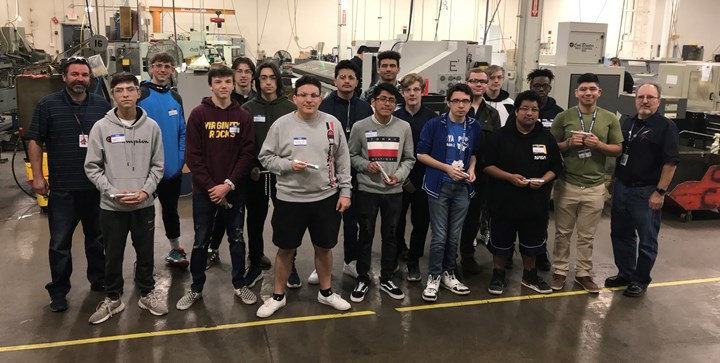 Students in the precision manufacturing program at South Elgin High School