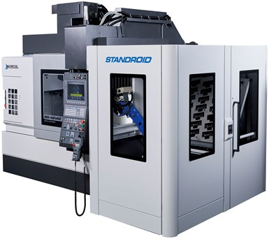 The Standroid is a freestanding robotic arm designed to interface with Okuma machine tools to enhance production efficiencies.