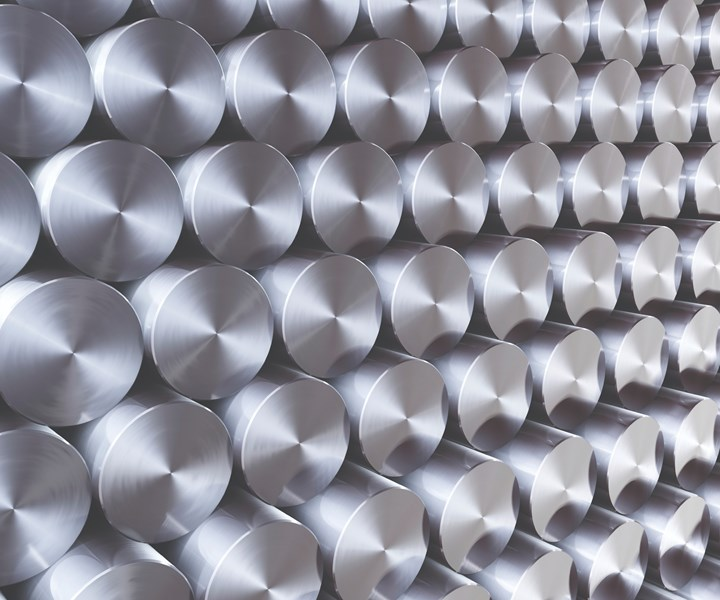 Stacks of round stainless steel bars