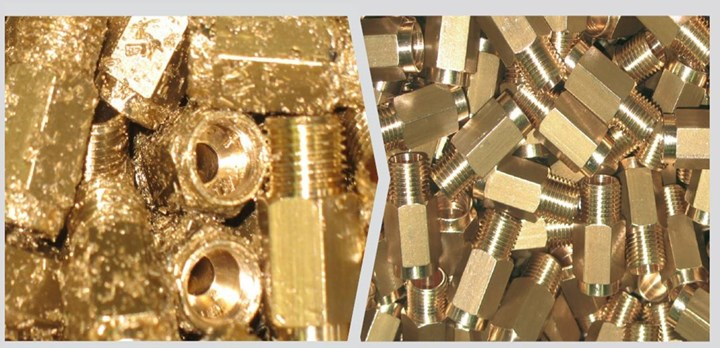 parts with chips on left and clean parts on the right
