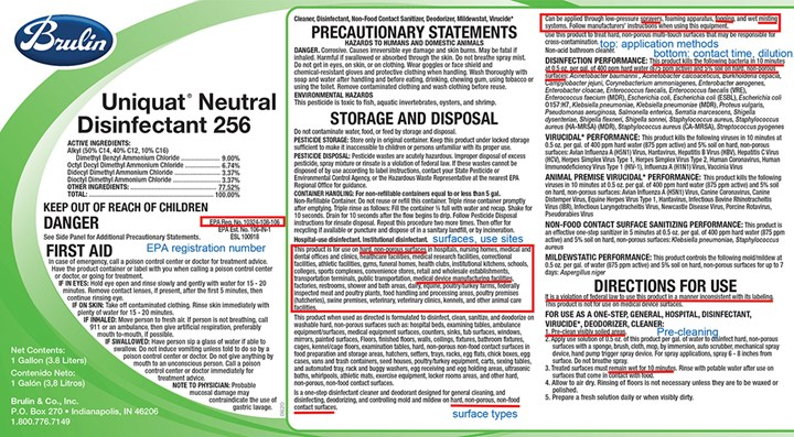 EPA label for disinfectant