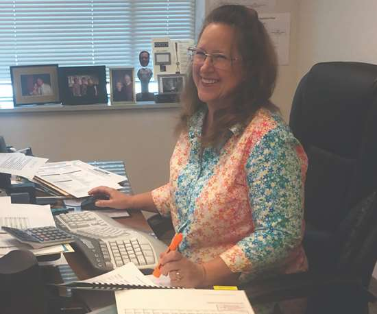 Cate Smith working on the 2020-2021 budget. She makes sure that we are good stewards of our money and keeps the strategic plan on track to provide valuable, concierge service to our members.