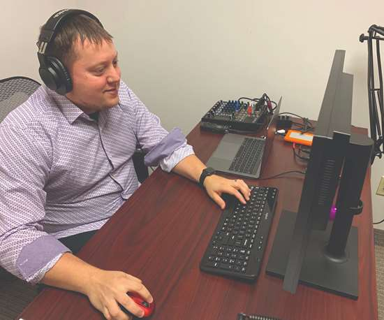 Joe Jackson in the PMPA studio serving as audio engineer for Speaking of Precision — Monday with Miles podcasts. He edits out the bloopers and makes us sound good!