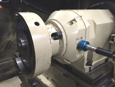 accelerometer mounted on a grinding spindle