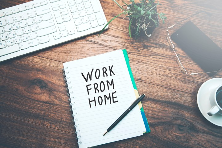 work from home notepad laying on desk