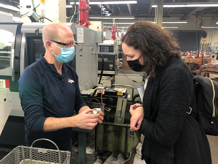 Robin Rutschilling and Lori Beckman on the shop floor at Clippard