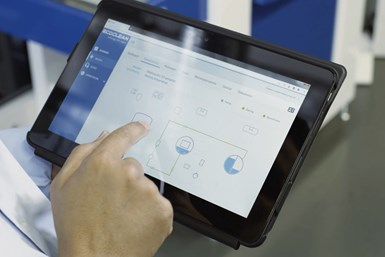 Ecoclean Connect displays all system and process data on a desktop or tablet.