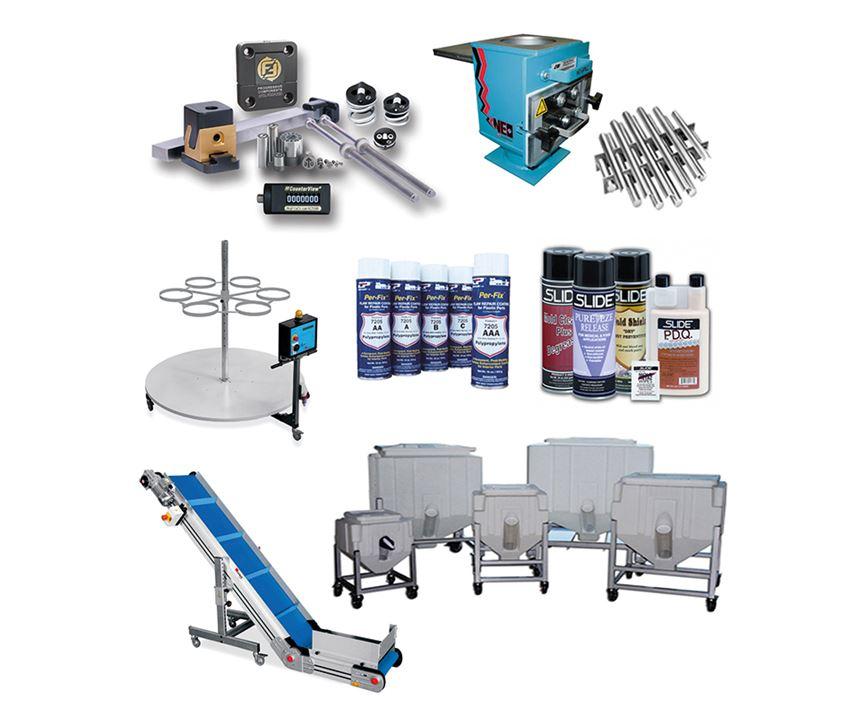 Diversos accesorios y suministros en stand de Soluciones Plásticas