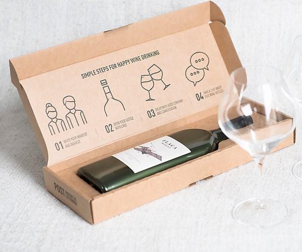 Botella de vino plana, para e-commerce.