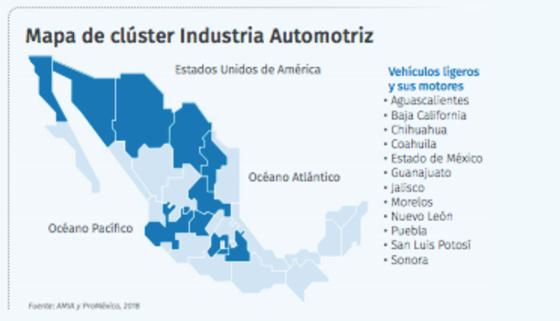 Mapa de clúster industria automotriz en México.