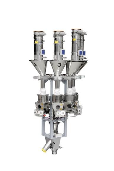 La nueva unidad de mezcla y dosificación síncrona Spectroplus de Motan-Colortronic presenta hasta ocho módulos de dosificación montados en el marco.