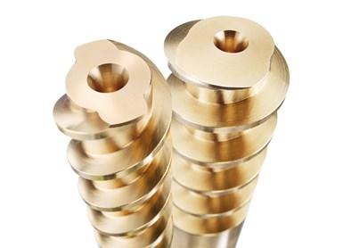 Los núcleos en espiral Z960 y Z9610 de Hasco permiten enfriar a lo largo de la pared del orificio.
