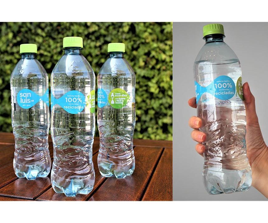 Arca Continental destacó en un comunicado de prensa, entre otros indicadores, los lanzamientos de las botellas de Ciel azul en México, y Agua San Luis en Perú, hechas 100% de material reciclado.