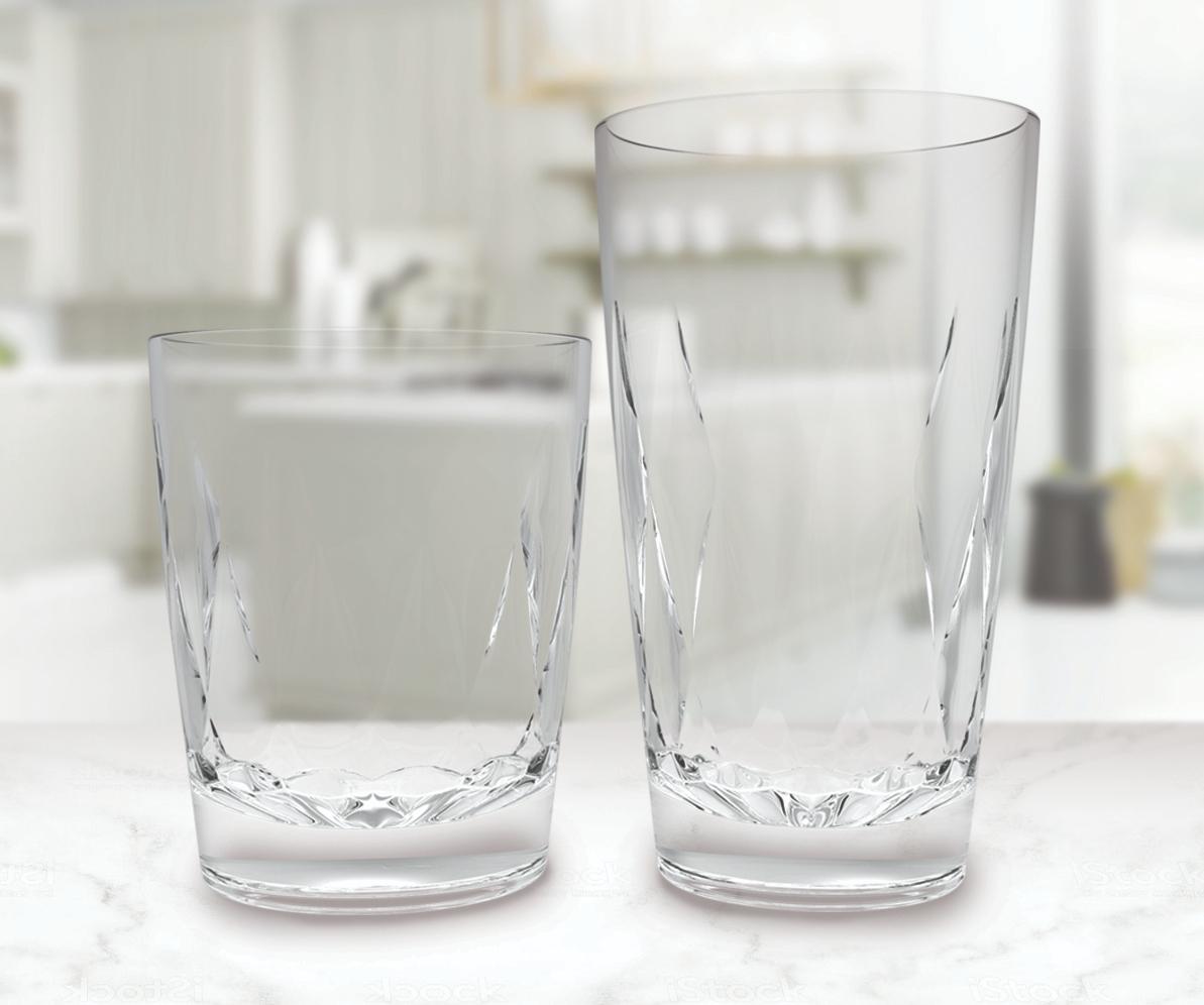 La transparencia del material Tritan, de Eastman, da a los vasos una apariencia lujosa y más sofisticada.