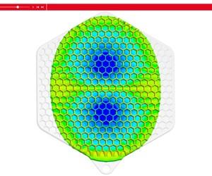 SIGMAinteract: La distribución de la temperatura en el componente durante el proceso de inyección en un modelo 3D interactivo, aquí el llenado al 74%.