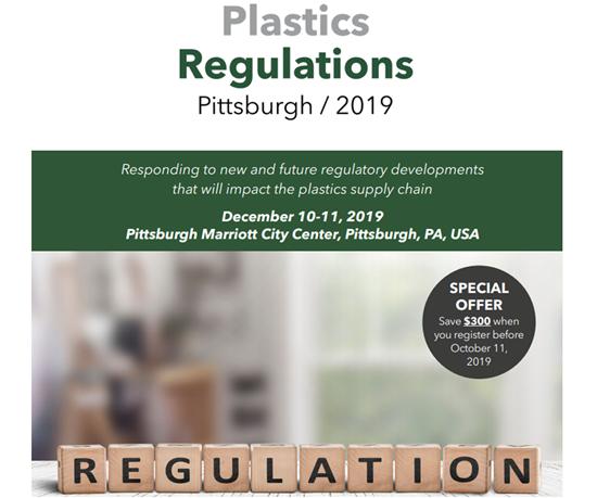 """La conferencia """"Regulaciones sobre plásticos"""" tendrá lugar del 10 al 11 de diciembre de 2019 en Pittsburgh Hotel Marriott City Center en Pittsburgh, Estados Unidos."""
