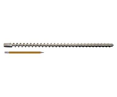 Los tornillos pequeños para extrusoras (comparado con un lápiz) se vuelven más comunes a medida que la manufactura aditiva se expande. Aquí se muestra un tornillo de 5/8 pulgadas de diámetro con una longitud total de 16.28 in. Foto: Triex LLC-Filabot.