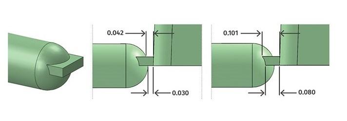 FIG 1. Longitudes en un diseño básico de compuerta de borde.