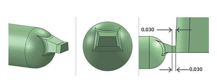 FIG 3. Diseño mejorado de compuerta de borde.