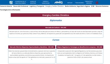 Oferta virtual de la ANIQ.