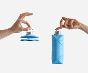 Botella plástica tipo origami, de DiFold.