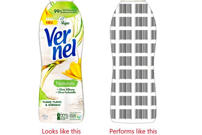 Proyecto piloto para la nueva gama de productos Vernel: las marcas de agua digitales funcionan como un código de barras invisible para el ojo humano en el empaque.