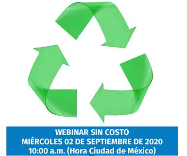 """Webinar """"Ecodiseño para el reciclaje de empaques plásticos"""", a realizarse el 2 de septiembre de 2020 a las 10:00 a.m."""