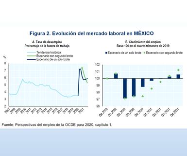 Evolución del mercado laboral en México. Fuente: OCDE.