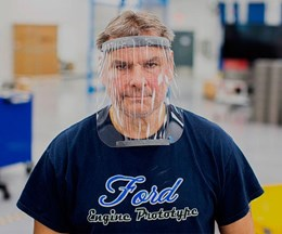 Piezas de protección que fabrica Ford, junto con sus aliados, para combatir el contagio de COVID-19.