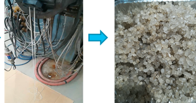 Figura 1. Obtención de pellets de almidón termoplastificado mediante extrusión reactiva.