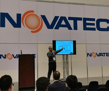 Álex Vidal, vicepresidente de desarrollo de nuevos negocios de Novatec para América Latina, durante una conferencia en Meximold en 2019.